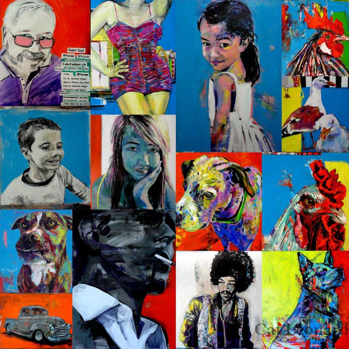 Montage of art by Cat Leonard catleonardart.com