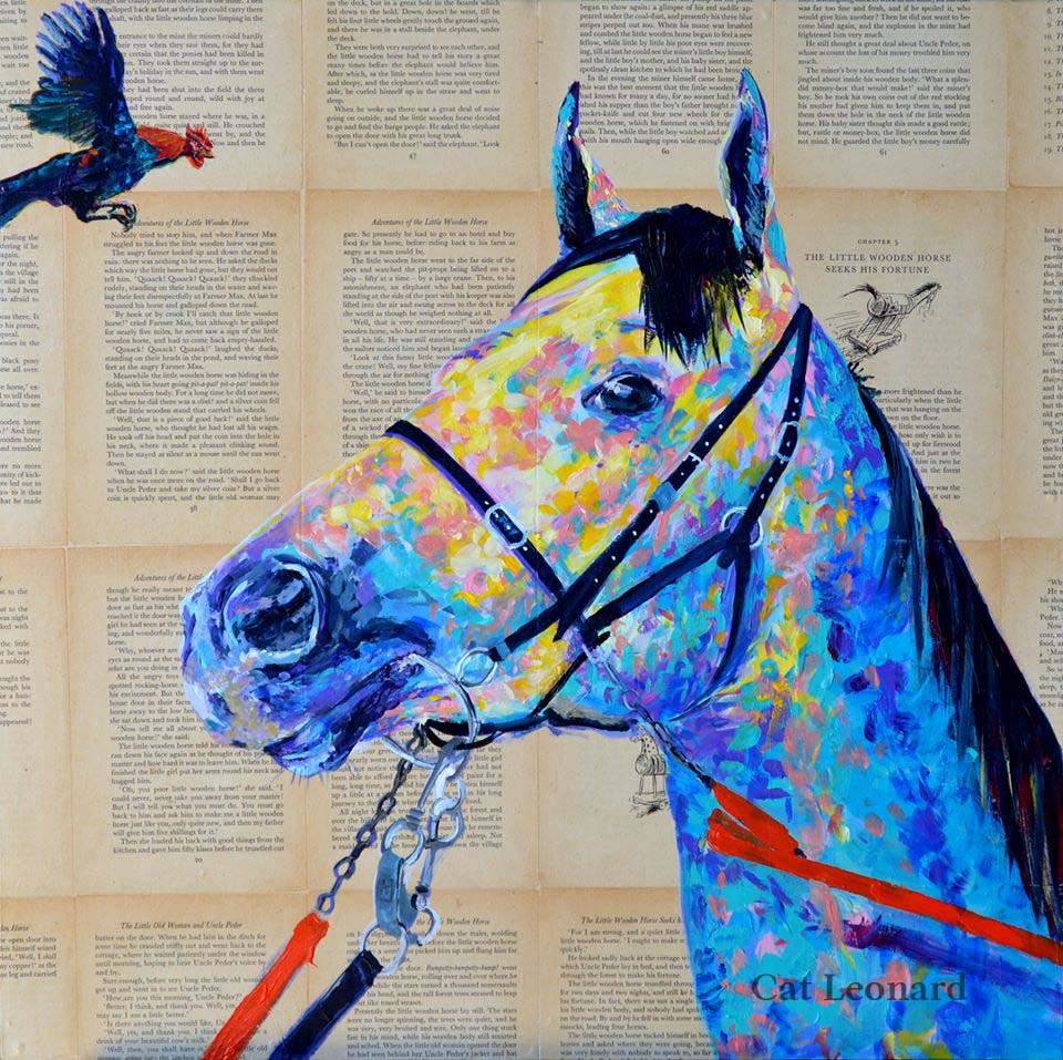 Horse and rooster art by Cat Leonard catleonardart.com